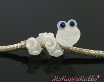 Snake worm glass charm bead lampwork big hole bead BHB bead , charm bracelet ,european bracelet , jewelry animal bead glass dread bead