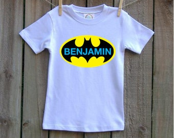 personalized batman batgirl heat press shirt any size any color combination name boy or girl block letters high quality boutique shirt