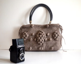Cyber Monday Sale-Bag //Handmade Brown \ Buff  Knit Bag, Celebrity Style,Crochet moms bag, fashion Tote Handmade Bag Unique Bag Celebrity
