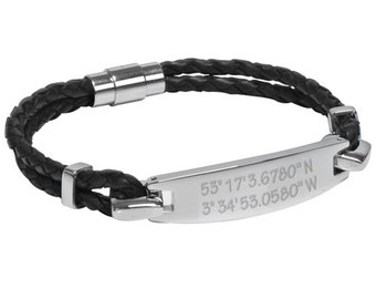 Mens Latitude & Longitude Coordinates Black Leather and Stainless Steel ID Bracelet (can be personalized)
