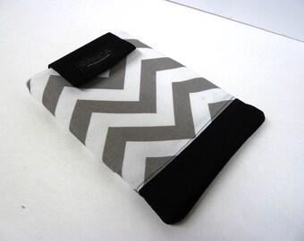Grey Chevron Cotton Tablet or E-Reader Cover