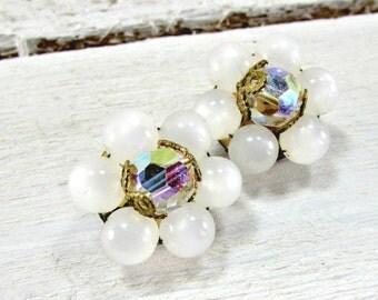 Vintage Moonglow Lucite Earrings, White Bead Cluster Earrings, AB Crystal Earrings, Clip-on Earrings, 1950s 60s Vintage Costume Jewelry