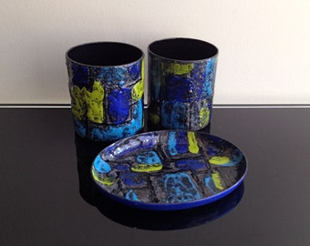 Vallenti Italy Enamel Dish and Cups - Blue and Yellow