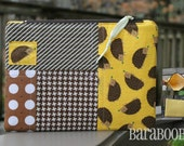 Zippy Zipper Pouch Case Hedgehogs Hedgies by Robert Kaufman brown yellow Stocking Stuffer