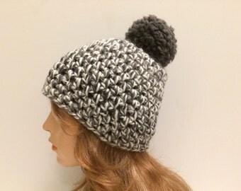 Crochet Chunky Beanie Hat With Pom Pom - QUARRY