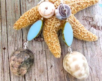 Sand and Sea Asymmetrical shell Earrings