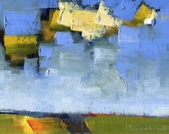 Cloud Hurray — Original Oil Painting, Landscape Painting, Abstract Landscape, Original Painting, Abstract Oil Painting, Fine Art, 5 x 7