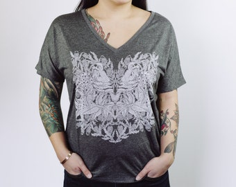 Heathered Charcoal Grey Bird and Branch Women's Screen Printed Slouchy V-Neck