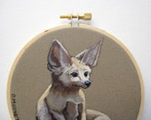 Fox Embroidery Hoop Art - Fennec Fox Painting