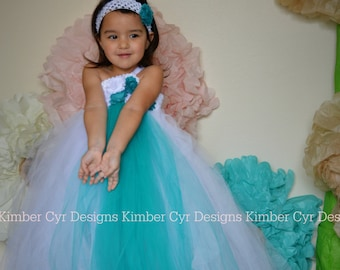 CLOSEOUT sale: White and Teal Wedding or Party Dress--up to teen