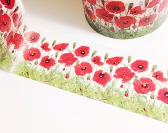 Field of Poppies Red Poppies Washi Tape 11 yards 10 meters 30mm Floral Flower Poppy Flower