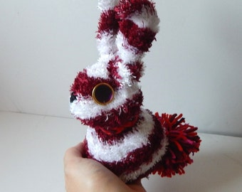Upcyle sock fuzzy bunny stripe plush rabbit spooky rag doll sock animal dark red and white stripe