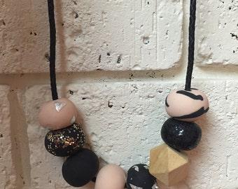 Black/beige polymer clay necklace