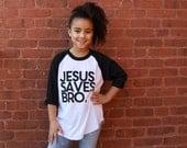 Jesus Saves Basball Tee . Kids
