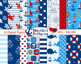 Nautical Digital Paper - Sailor - Nautical patterns