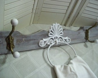 """architectural reclaimed wood salvage wall hanging hook peg rack towel rod porcelain knob hanger Farmhouse Chic 35""""..Reduced..WAS 24.99"""