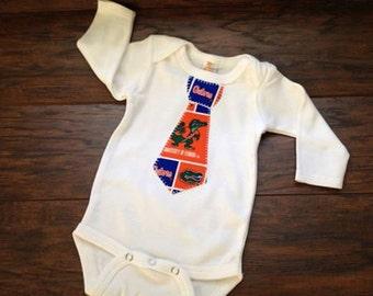 Florida Inspired Tie Onsie, Baby Boy University of Florida Appliqued Tie Onsie, Newborn Appliqued Onsie, Select Your Size, Baby Tie Onsie