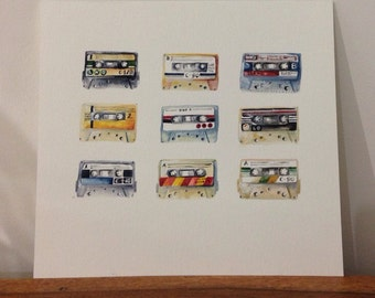 Cassette Tapes Painting