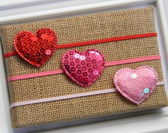 Valentine Headband - Sequin Heart Headband - Heart Headband - Baby Heart Headband