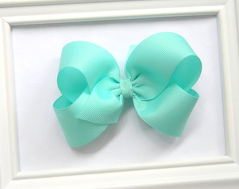 Aqua Boutique Hair Bow - Aqua Hair Bow - Large Boutique Bow