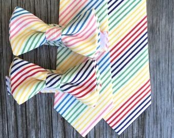 SALE Boy's Neck Ties - Ties for Men - Rainbow Bow Tie - Cotton Ties - Festive Neck Tie - Tie for Toddlers - Necktie for Baby - Bowtie