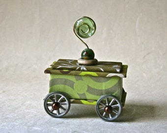 Handmade Box in Green Gold and Silver with Wheels and Flourished for Gift or Decor