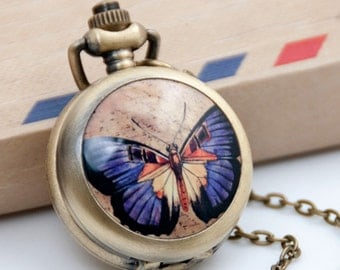 1pcs Butterfly  Watch Charms Pendant with chain Children's gifts, Christmas gifts,
