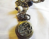 Pocket Watch Necklace,  Steampunk Nautical Victorian With Octopus Ships Wheel Charms Pearls
