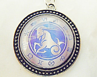 Silver Pendant Necklace,  Zodiac Symbol Capricorn Pendant  Mens Womens Gift  Handmade