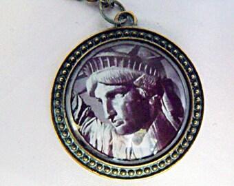 Bronze Pendant Necklace ,  Verdigris Statue of Liberty Image  Handmade
