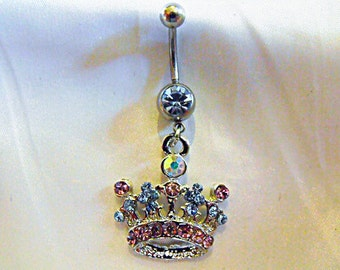 Belly Ring, Rhinestoned Crown  Womens Gift  Handmade