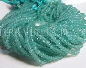 Full 13 inch strand aqua blue CHALCEDONY faceted gem stone rondelle beads 3.5mm - 4mm