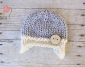 Wooly Earflap Button Beanie with Wooden Button, Newborn Photography Prop, Gray and Green