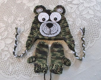 Camoflauge Bear Hat and Mitten Set - Photo Prop - Available in Baby to Toddler Size - Any Color Combination