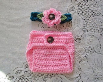 Pink and Teal Headband and Diaper Cover Photo Prop Set - Available in Newborn to 24 Months - Any Color Combination