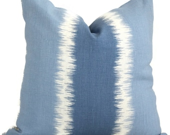 Blue Stripe Ikat, Thom Filicia  Kravet Decorative Pillow Cover 20x20 toss pillow, accent pillow, throw pillow