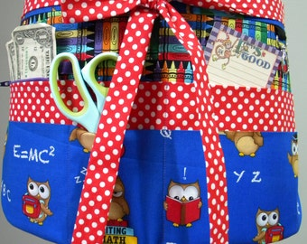 Teacher Crafter Vendor Utility Apron-Scholarly Owls