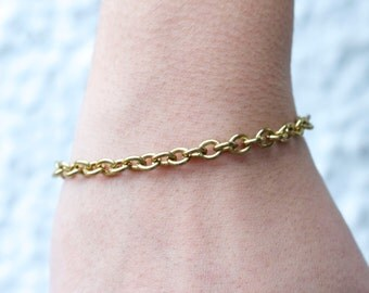 Vintage chain Bracelet - Simple Golden Chain Eighties Bracelet