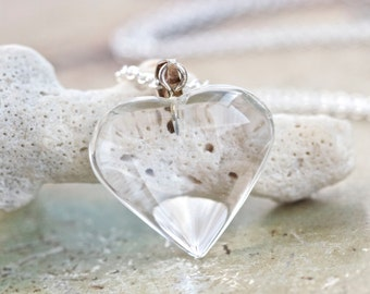 Glass Heart Necklace - Sterling Silver and Crystal Clear Love Pendant