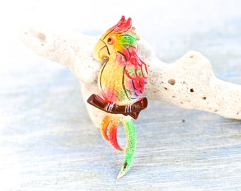 Colorful Parrot Brooch - Vintage Lapel Pin