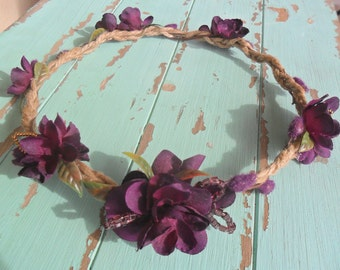 Woodland Crown, Rustic Headpiece,Plum/Purple Headpiece,Floral Halo,Rustic Crown,Purple Hairpiece,Floral Crown, Rustic/Garden/Outdoor Wedding