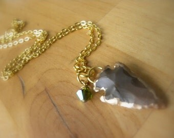 Carved Agate Arrowhead Pendant with Swarovski Crystal, Gold Colored Necklace, Natural Stone Jewelry, Gold Plated Carved Arrowhead Necklace