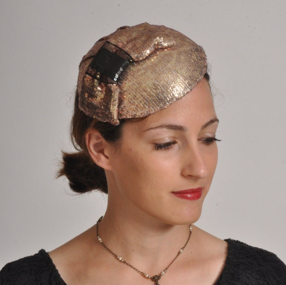 Pill box hat with metallic bronze sequins, cocktail hat with sequins, gold wedding hair accessory, Mother of the bride