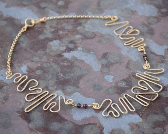 Brass and Garnet Beaded Free Form Love Necklace