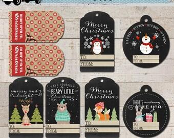 Christmas Gift Tags Printable - Woodland - Chalkboard