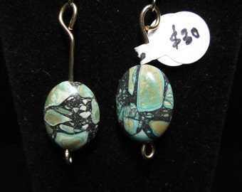 Mosaic Tuquoise bead earrings 29ct