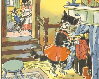 Vintage 1948 Childrens Print By Hilda Boswell Tabby Kitten Hides Sweater Behind Curtains Cat Combs Kittens Tail Cartoon Cats Book Plate