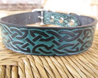 """1"""" Black and Turquoise Celtic Leather Dog Collar.  Embossed  Handmade Collar."""