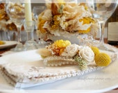 Sunny Collection - Wrist Corsage - Natural Dried and Preserved Wedding Flowers -  pale and golden yellow craspedia sola