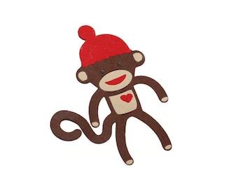 Sock monkey die cuts - 4 dies (3.5 in.) - you choose your colors (C56)